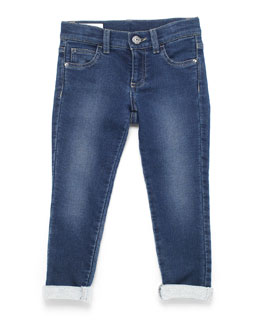 Terry-Lined Slim-Fit Denim Jeans, Sky Blue, Size 4-12
