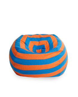 Striped Beanbag Chair, Orange/Blue
