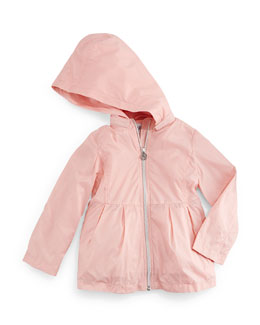 Pleated Hooded Jacket, Pale Pink, Size 2-8