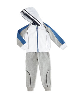 Two-Piece Hooded Tracksuit, Gray/White, Sizes 2-8