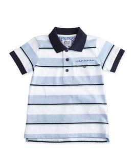 Short-Sleeve Striped Polo Shirt w/ Paisley Detail, Blue/White, Size 2-8
