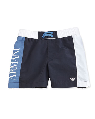 Colorblock Swim Trunks, Navy/White/Blue, Size 2-8