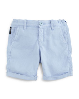 Cotton-Blend Pique-Knit Shorts, Light Blue, Size 2-8