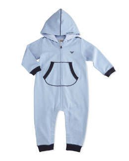 Hooded Coverall w/ Contrast Cuffs, Light Blue, Size 1-12 Months