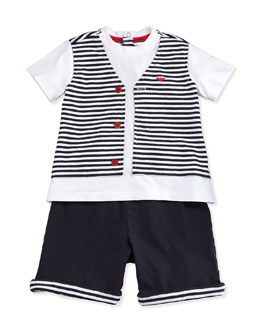Jersey Tee & Shorts 2-Piece Gift Set, Navy, Size 1-12 Months