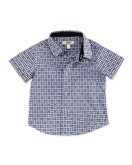 Short-Sleeve Logo-Print Shirt, Navy/White, 6-24 Months