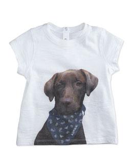 Dog-Print Slub Jersey Tee, White, Size 3-24 Months