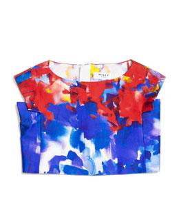 Eva Watercolor-Print Crop Top, Multicolor, Size 8-14