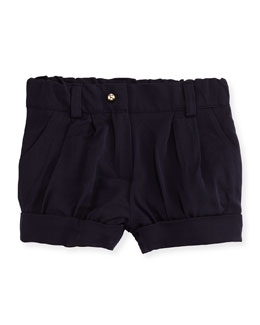 Pleated Twill Shorts, Navy, Size 12M-3Y