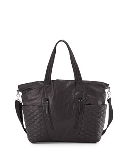 Yoko Leather-Trim Baby Bag, Black