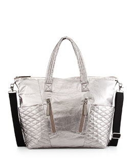 Yoko Metallic Quilted Baby Bag, Anthracite