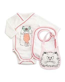 Long-Sleeve Kitty-Print Playsuit & Bibs, White, Size 1-18 Months