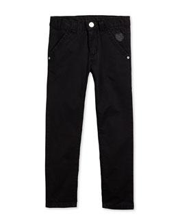 Straight-Leg Chino Trousers, Black, Size 6-12