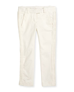 Pleated Stretch-Gabardine Pants, Off White, Size 8-14