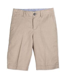 Linen Bermuda Dress Shorts, Stone, Size 4-10