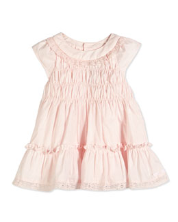 Lace-Trim Cap-Sleeve Voile Dress, Light Pink, Sizes 6-18 Months