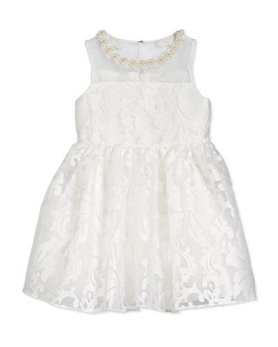 Floral Jacquard Tulle Dress, Ivory, Size 2-8