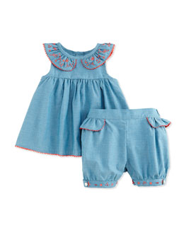 Embroidered Chambray Blouse & Shorts, Royal Blue, Size 3-18 Months