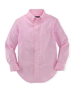Blake Long-Sleeve Poplin Shirt, Foster Pink, Size 2T-7