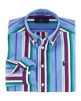 Blake Long-Sleeve Striped Poplin Shirt, Blue/Multicolor, Size 2-7