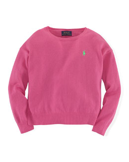 Long-Sleeve Fine-Gauge Sweater, Pink, Size 2T-6X