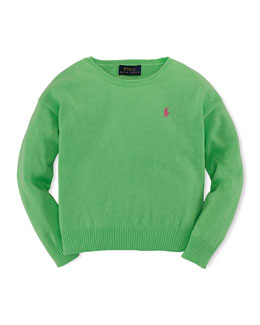 Long-Sleeve Fine-Gauge Sweater, Green, Size 2T-6X
