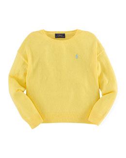 Long-Sleeve Fine-Gauge Sweater, Yellow, Size 2T-6X