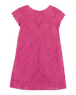Cap-Sleeve Lace Shift Dress, Pink, Size 2T-6X