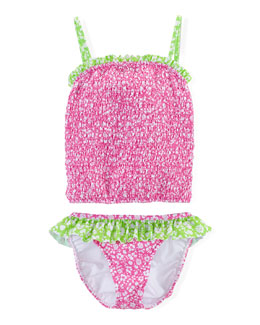 Floral-Print Tankini Swimsuit, Pink/Green, Size 2T-6X