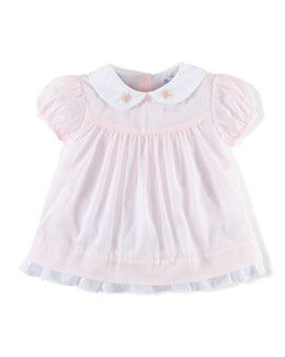 Smocked Cotton Voile Blouse, Pink, Size 9-24 Months