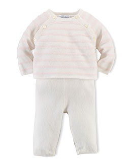 Cashmere Striped Sweater & Pants, Warm White/Pink, Size 3-12 Months