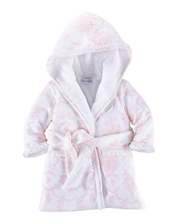 Terry-Lined Floral Robe, Pink/White, Size 3-9 Months