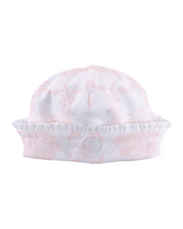 Floral-Print Baby Hat, Pink/White