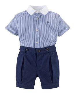 Cotton Poplin Shirt & Pique Shorts, Blue, Size 6-24 Months