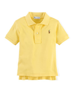 Short-Sleeve Mesh-Knit Polo, Masters Yellow, Size 9-24 Months