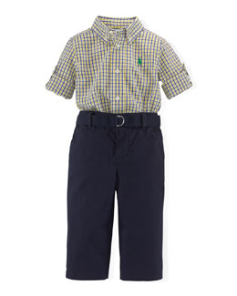 Tattersall Seersucker Shirt, Belt & Chino Pants, Yellow/Blue, Size 6-24 Months