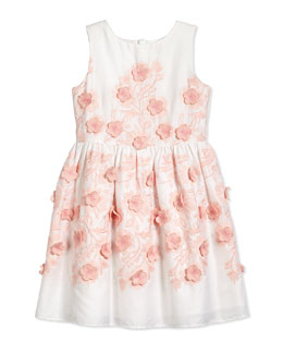 Sleeveless Floral-Embroidered Dress, White/Pink, Sizes 2-8