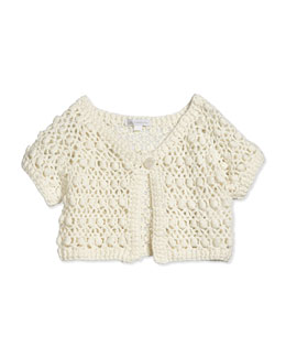 Short-Sleeve Crochet Bolero, White, Size 2-8