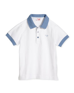 Contrast-Collar Jersey Polo Shirt, Blue/White, Sizes 3T-4T