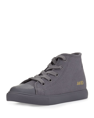 Classic Side-Zip High-Top Sneaker, Gray, Toddler