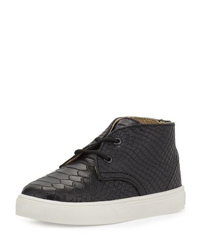 Knight Snake-Embossed Leather Sneaker, Black