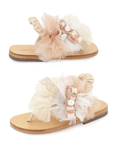 Tulle & Leather Sandal, Ivory/Pink