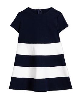 Short-Sleeve Striped Ponte Dress, Navy/White, Size 3T-4T