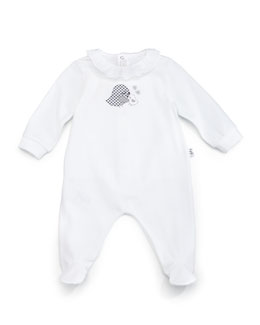 Two Birds Footie Pajamas, White, Size 1-6 Months