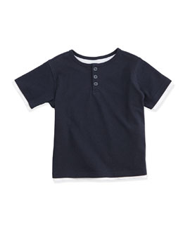 Layered Button-Front Henley Tee, Blue, Size 2-7