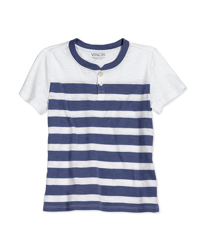 Striped Slub Henley Tee, Blue Moon, Size 2-7