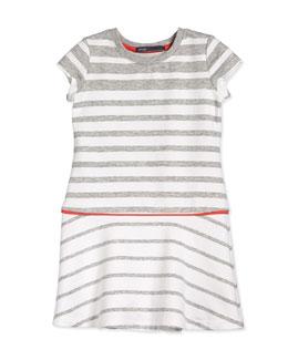 Striped Flounce Dress, Steel/White/Orange, Size 2-6