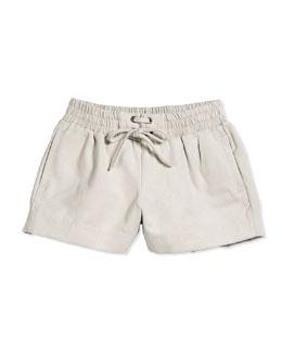 Suede Drawstring Boxer Shorts, Shale, Size 2-6