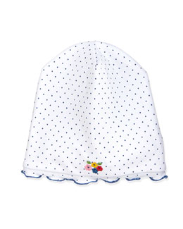 Ladybug Lane Baby Hat, White/Navy