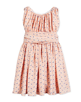 Floral Shirred Chiffon Dress, Pink, Size 2-6X